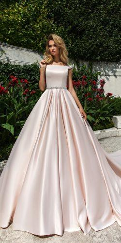 crystal design 2018 wedding dresses simple blush ball gown caps sleeves style josleen