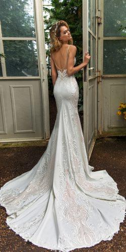 crystal design 2018 wedding dresses trumpet lace low back spaghetti straps with train style emily