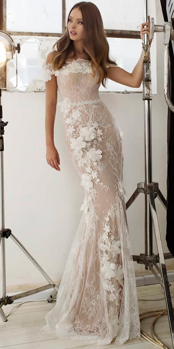 0047ff38e65 floral wedding dresses sheath lace off the shoulder lian rokman