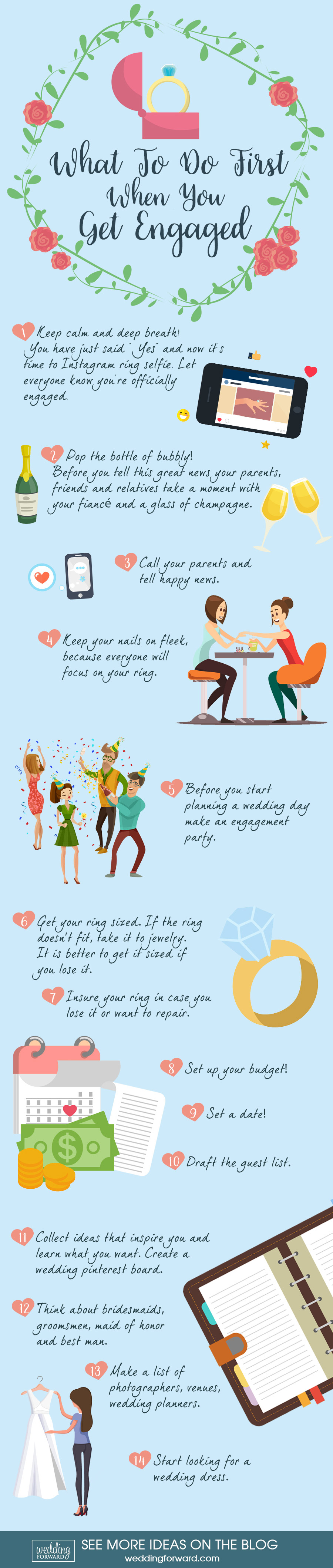 infographic what to do first when you get engaged