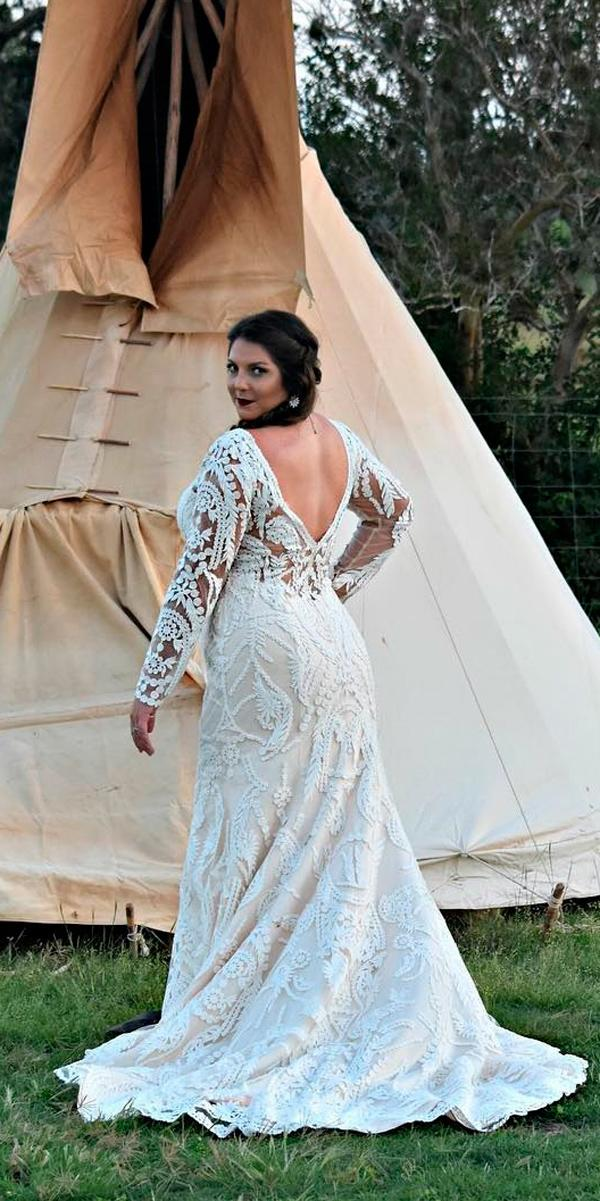 plus size wedding dresses straight lace open v back long sleeve casablancabridal