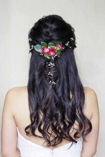 rustic wedding hairstyles bridal french braid half up half down with baby breath and roses on brunette karis chiu via instagram