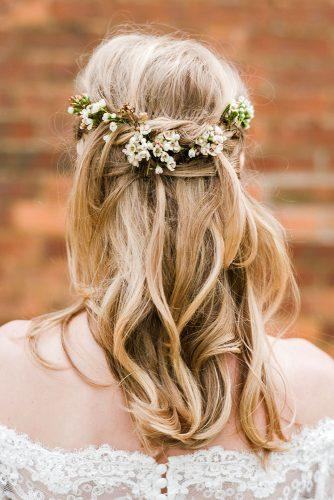 rustic wedding hairstyles bridal swept half up half down with flowers john barwood photography