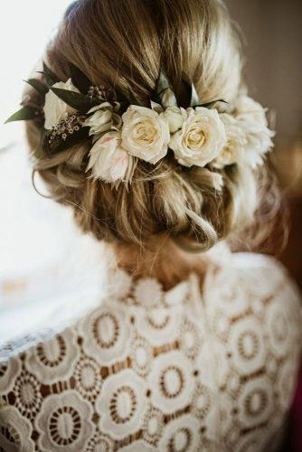 rustic wedding hairstyles elegant low updo with white roses the rowlands photography and filmmaking