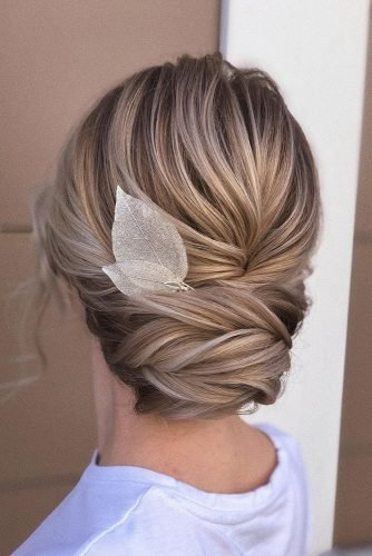 rustic wedding hairstyles elegant textured upgo with silver leaf hairpin xenia_stylist
