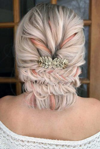 rustic wedding hairstyles low updo with braids on peach hair alexandralee1016 via instagram