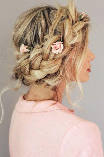 rustic wedding hairstyles messy braided crown with pink roses barefootblondehair via instagram