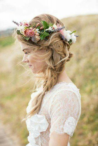 rustic wedding hairstyles messy cascading updo with summer wild flower crown carmen santorelli photography