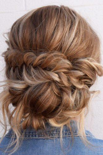 rustic wedding hairstyles messy low bun with braids wb_upstyles