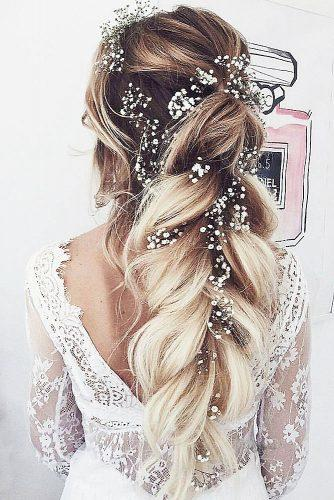 rustic wedding hairstyles volume long braid with baby breath ulyana aster via instagram
