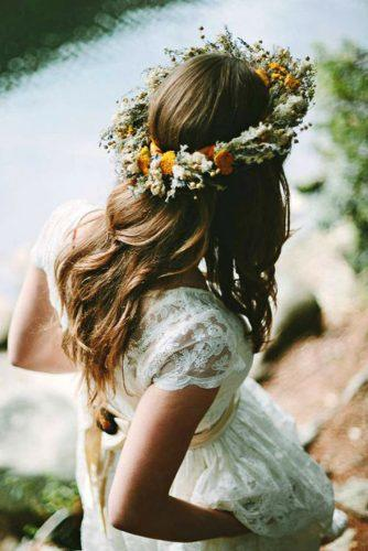 rustic wedding hairstyles wild flower crown on brown loose hair pat furey photography