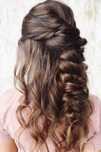 rustic wedding swept half up half down on long dark hair beyondtheponytail