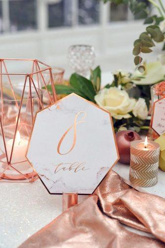 wedding decor trends marble rose gold table number elena matiash photography