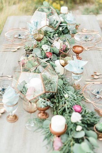 wedding decor trends table with greenery and golden geometric decorations trisha shelley photography