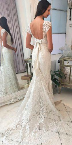 anna campbell real bride fit and flare low back lace hand beaded shoulders with bow wedding dresses alyssa