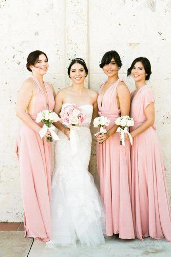 blush long straight sleeveless convertible bridesmaid dresses two birds bridesmaid