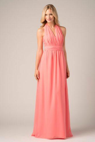 convertible bridesmaid dresses coral long straight v neckline halter neck wtoo