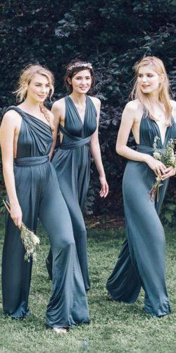 green bridesmaid dresses jumpsuits emerald two birds