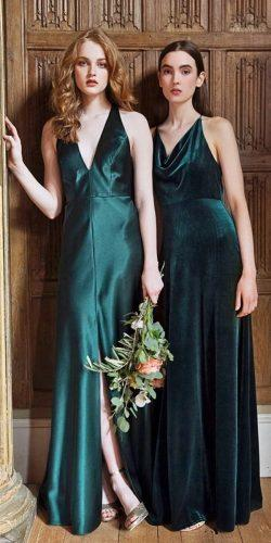 green bridesmaid dresses long v neckline emerald jenny yoo