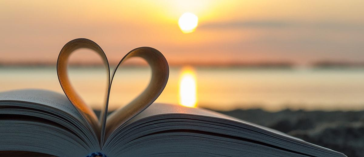 love quotes book heart sunset