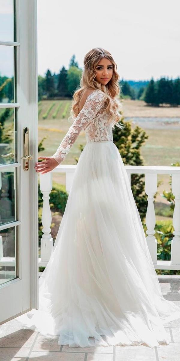 modest wedding dresses a line open back with sleeves elegant miss hayley paige