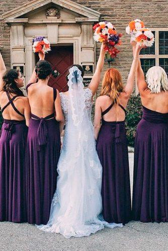 purple backless open back straight long convertible bridesmaid dresses henkaa
