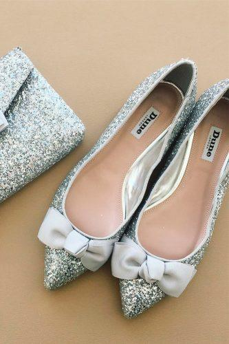 silver flats wedding shoes sparkle with bow trendy stylish dune london