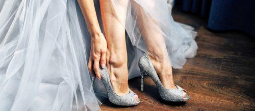 silver wedding shoes featured