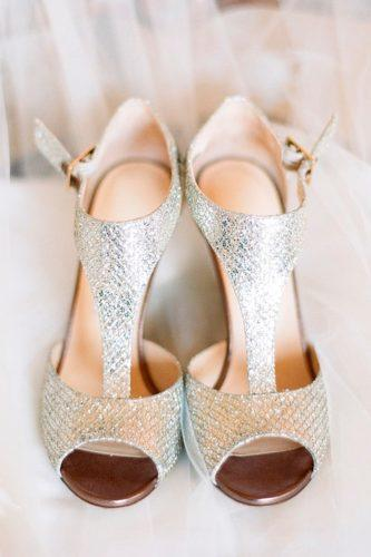 silver wedding shoes low heel ankle straps sparkle modern jodi kurt
