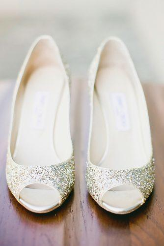 sparkle low heel modern trendy silver wedding shoes onelove