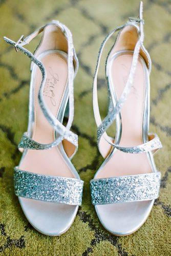 strappy low heel stylish silver wedding shoes kirandira