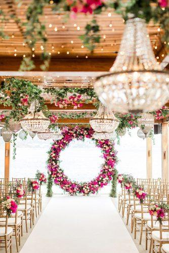wedding ideas boho vintage ceremony with pink flowers and round altar thanos asfis with velvet rose studio