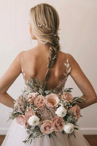 wedding ideas elegant volume blush bouquet with white flowers and greenery natashafurduyphotography