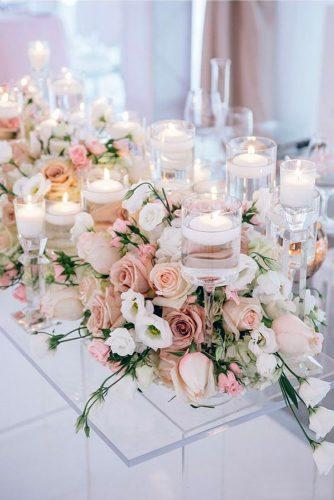 wedding ideas pale pink table décor with roses and candles mimmo & co