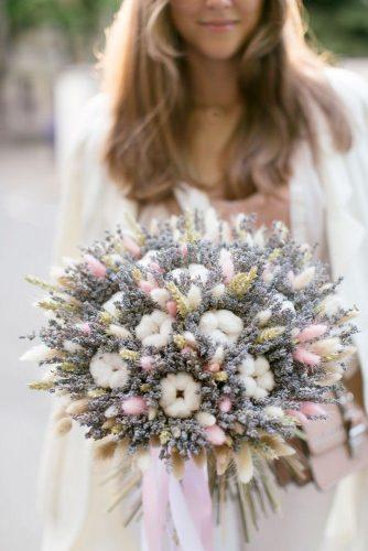 wedding ideas volume bouquet with lavender and cotton flowers lavendercastle.ru