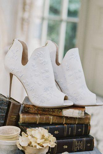 wedding shoes trends 2018 white embroidery bridal booties with open toe bella belle peony