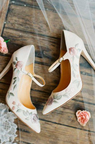 wedding shoes trends high heels ankle strap with floral ornament bella belle adelaide