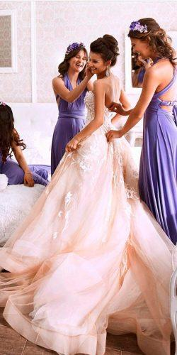 ball gown blush strapless open back milla nova wedding dresses