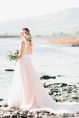 beach wedding blush bridal dress