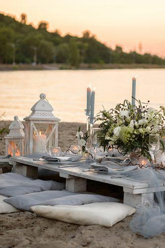 beach wedding reception decor candles