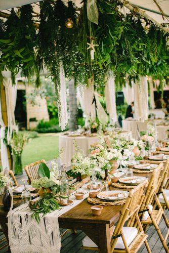 bohemian wedding theme bohemian table with flowers and suspended greenery imaj gallery