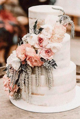 bohemian wedding theme boho cake white naked creamy with rust flowers cherrytreebakehouse