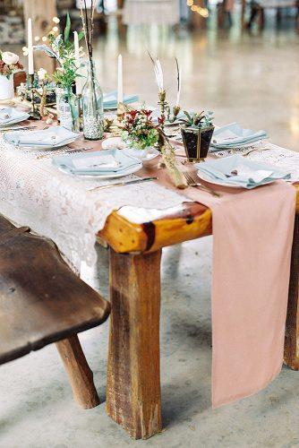 bohemian wedding theme pink tablerunner and boho decorations emily steffen photography