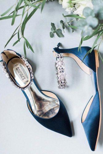 flat wedding shoes flats dark blue with stones badgley mischka