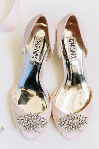 flat wedding shoes pink crystal badgley mischka