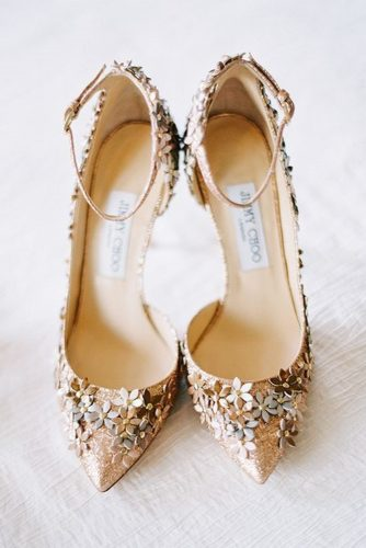 gorgeous bridal shoes gold with high heels 3d floral jimmy choo