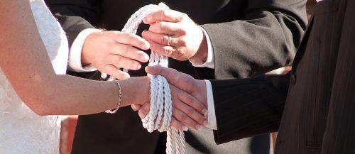 handfasting ceremony wedding bride groom