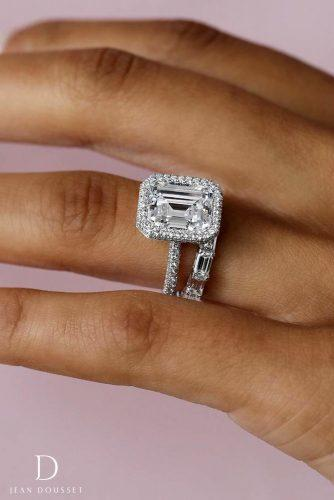 jean dousset engagement rings emerald cut diamond halo band set 20