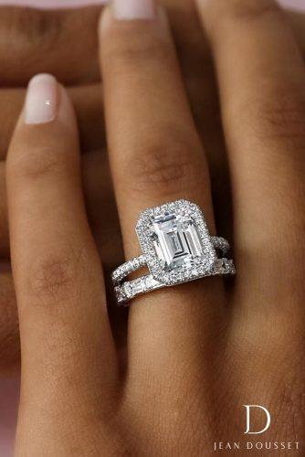 jean dousset engagement rings emerald cut diamond set halo 4