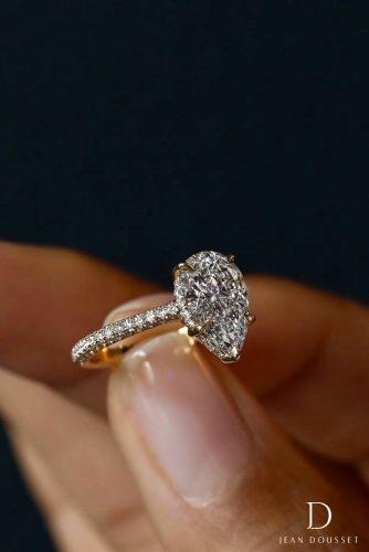 jean dousset engagement rings solitaire yellow gold pear shaped diamond 22